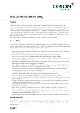 Board Health and Safety Charter