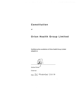 Orion Health Constitution