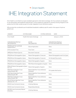 HIE IHE Integration Statement